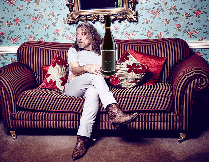 Hey, isxn't that Robert Plant, with a bottle of Naked Pinot Noir, in a badly Photoshopped photo?