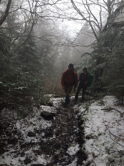 Soggy, chilly weather has finally eased, so Appalachian Trail  hikers Barb Prescott and Gleb Velikanov can enjoy spring weather.